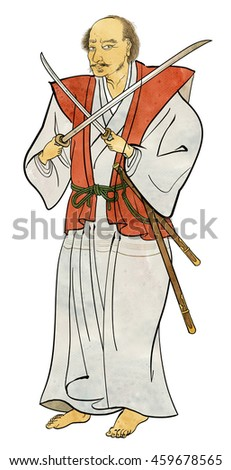 Musashi Miyamoto - bad out in the dual wield - stock photo