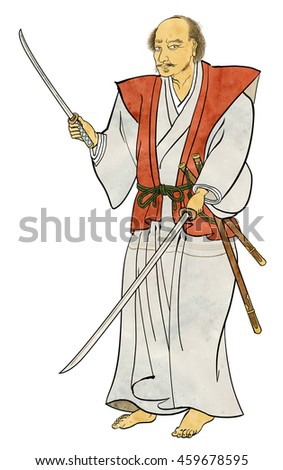 Musashi Miyamoto - Refers to the point in the sword - stock photo