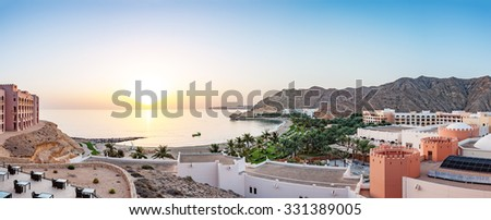 MUSCAT, OMAN - September 24: Sunrise at the Barr Al Jissah in Oman on September 24, 2015. It is located about 20 km east of Muscat.