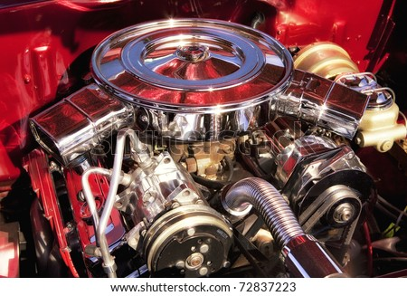 Muscle Car Engine - stock photo