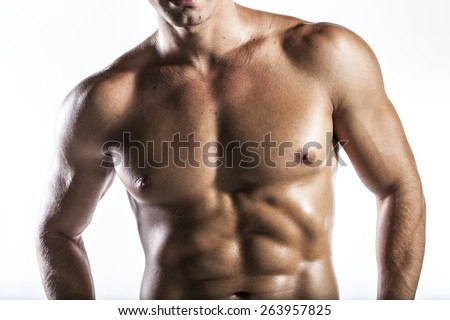 muscle man, a naked body of European latin muscle man showing off