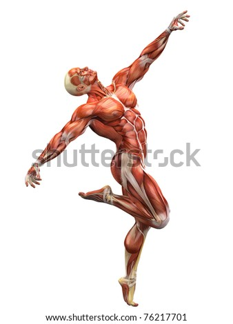 muscle man dancing the dance - stock photo