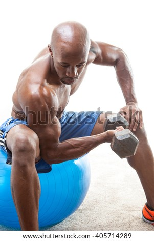 Muscle Man Doing Curls - stock photo