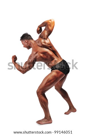 Muscle man isolated over white background