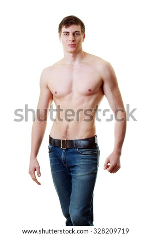 Muscle sexy young man isolated over white