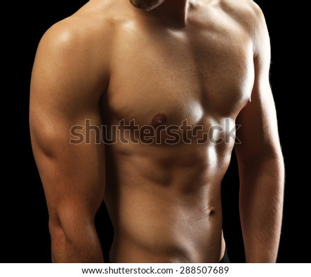 Muscle young man close up