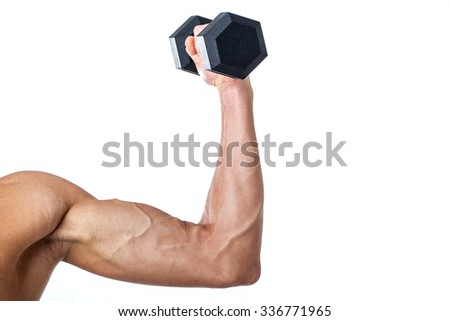 Muscled arm lifting weights isolated on white background. Strong bodybuilder with six pack, perfect abs, shoulders, biceps, triceps and chest - stock photo