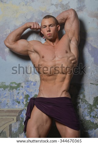Muscled male model with textile