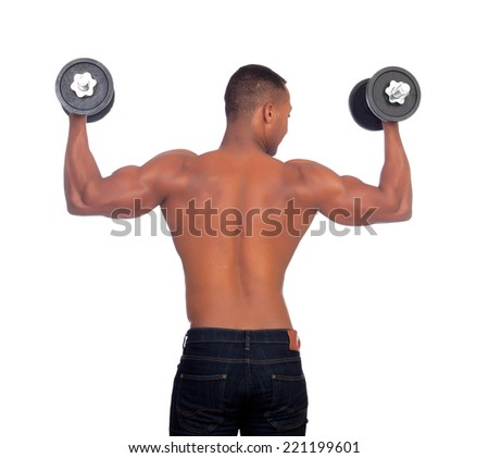 Muscular African American man back training with dumbbells isolated on a white background - stock photo