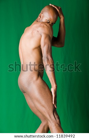 Muscular  African american man form and shape - stock photo