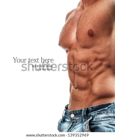 Muscular and sexy torso of young man, bodybuilder isolated on white - stock photo