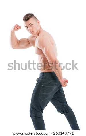Muscular and shirtless male model flexing biceps isolated on white background - stock photo