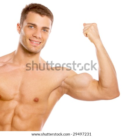 Muscular and tanned male isolated on white - stock photo