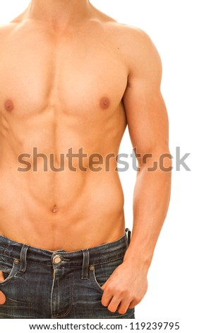 Muscular and tanned male naked torso. Isolated on white - stock photo