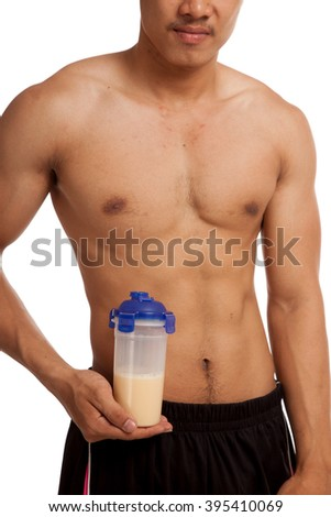 Muscular Asian man show his six pack abs whey protein  isolated on white background - stock photo