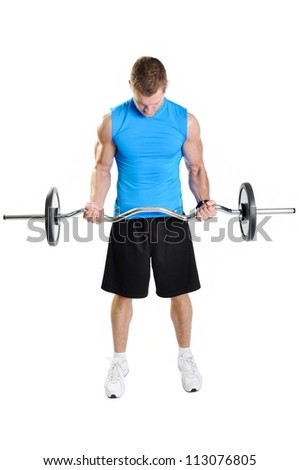 Muscular athlete man exercising on a white background - stock photo