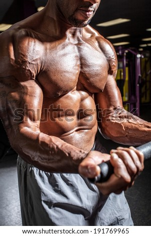 Muscular body builder working out  at the gym. - stock photo
