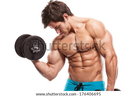 Muscular bodybuilder guy doing exercises with dumbbells isolated over white background - stock photo