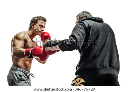 Muscular boxers are ready for fight. Isolated on white background. - stock photo