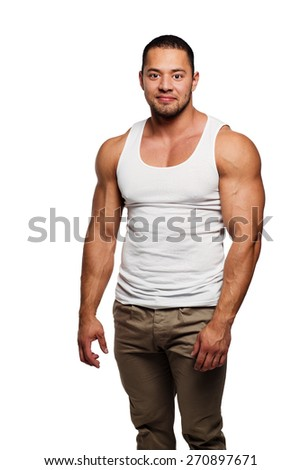 Muscular build young man isolated on white background - stock photo