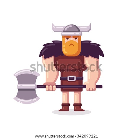 Muscular cartoon viking with axe in modern flat style. - stock photo