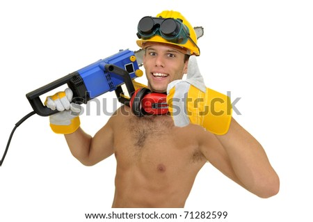 Muscular construction worker with chainsaw posing isolated in white - stock photo