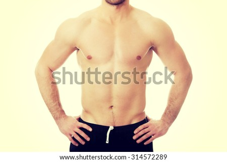 Muscular fit athletic male chest.