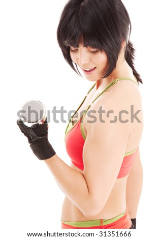 muscular fitness instructor with dumbbells over white