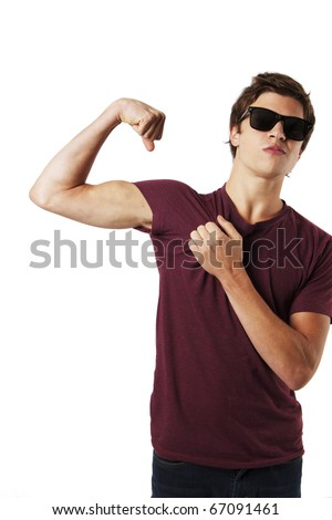 Muscular Guy in Sunglasses - stock photo