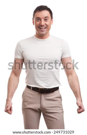 muscular handsome man wearing t-shirt isolated over white background