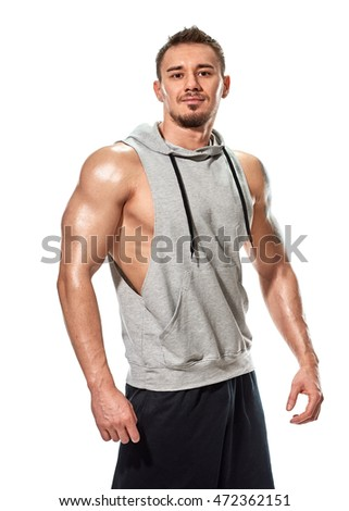 Muscular handsome young man posing