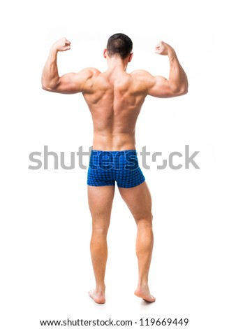 muscular male back isolated on a white background - stock photo
