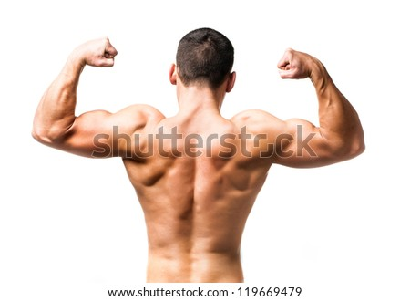 muscular male back over white background - stock photo