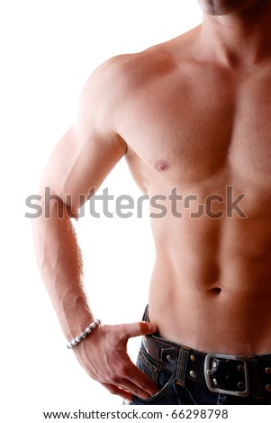 Muscular male body builder over white background - stock photo