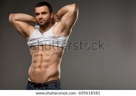 Muscular Male Body Portrait Handsome Young Stock Photo Royalty Free