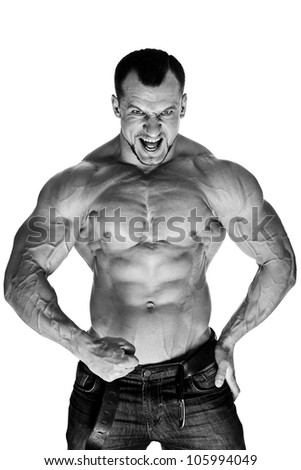 Muscular male bodybuilder on white background B&W - stock photo