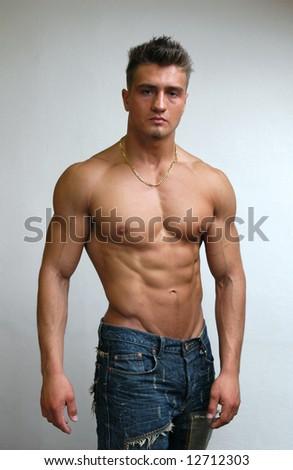 Muscular Male Model - stock photo