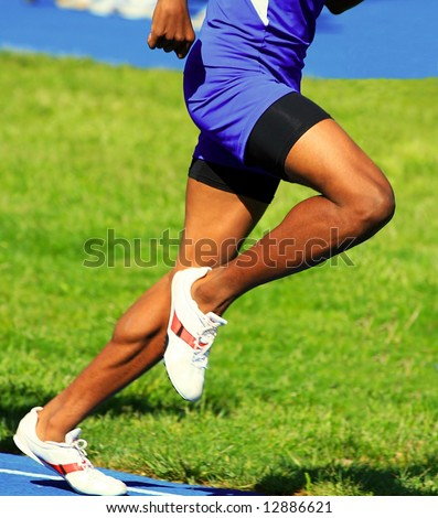 muscular male runner body - stock photo