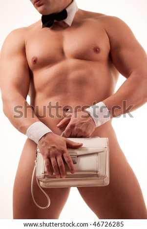 Muscular male stripper with woman purse - stock photo