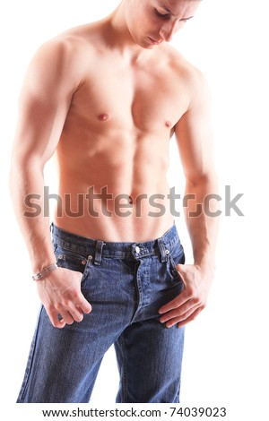 Muscular male torso isolated on white - stock photo