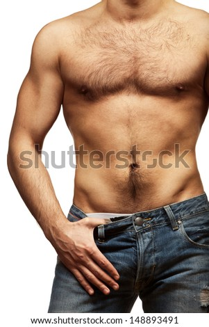 Muscular male torso isolated on white background - stock photo