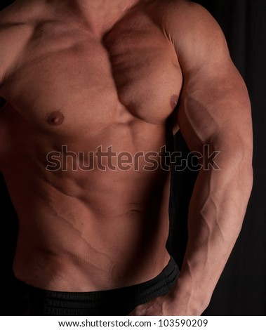 Muscular male torso of bodybuilder on black background - stock photo