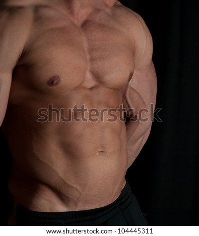 Muscular male torso of bodybuilder on white background