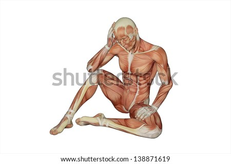 Muscular male with visible muscles - clipping path - stock photo