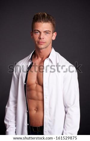 muscular man - stock photo