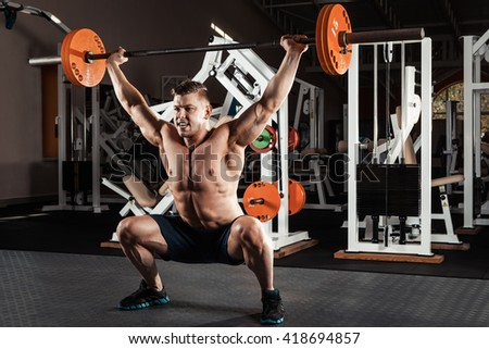 Muscular Man Crossfit Gym Lifting Barbell Stock Photo Royalty Free