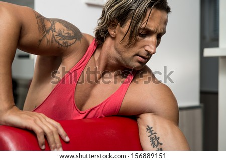 Muscular Man Exercising In Gym - stock photo