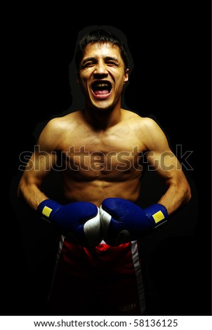 muscular man fighting box over dark background - stock photo
