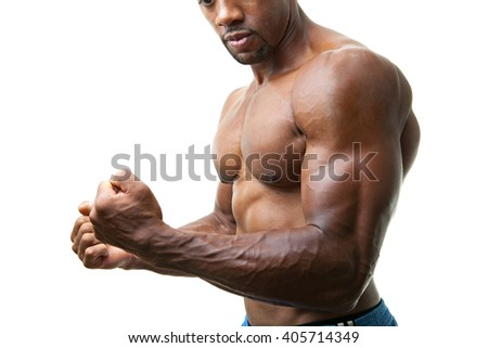 Muscular Man Flexing - stock photo