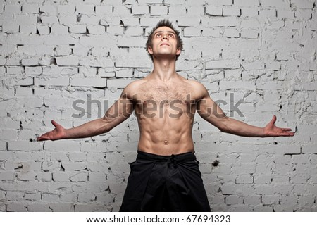 muscular man freedom fly at brick background